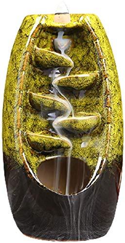 Wasserfall-Räucherbrenner mit Reflux-Räucherbrenner, handgefertigt, Dekoration, gelb Xping