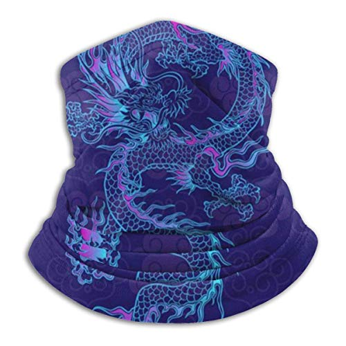 deyhfef Gaiter - Gorras de lana para esquí de nieve, diseño de dragón azul