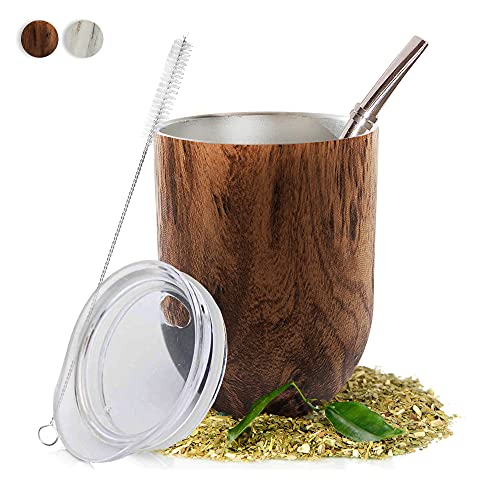 Yerba Mate Natural Gourd/Tea Cup Set Brown (Traditional Mate Cup - 12 Ounces) I Includes Bombilla (Yerba Mate Straw), Lid & Cleaning Brush I Stainless Steel Double-Walled I Easy to Clean
