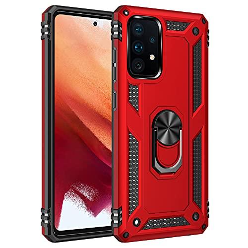 Funda para Xiaomi Mi 11 Teléfono Móvil Doble Capa Silicona Bumper Case con 360 Grados Rotaria Ring Holder Protectora Armor Cover [Protección contra Caídas Reforzada] (Rojo, Xiaomi Mi 11)