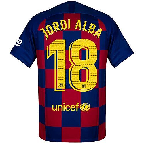 Nike Barcelona Home Jordi Alba 18 Trikot 2019-2020 (Match Pro Printing), Herren, Königsblau, Small