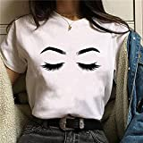 Momyeah Manga Corta Sombra de Ojos para Mujer, pestañas, Labios Rojos, Camiseta gráfica, Cuello Redondo, algodón, Manga Corta, Maquillaje Femenino, expresión Facial, 9, 3XL