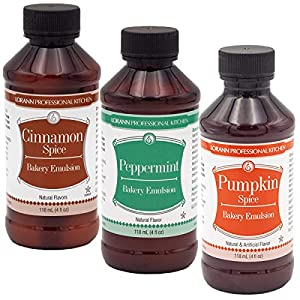 Includes one 4 ounce bottle of each - Cinnamon Spice, Peppermint and Pumpkin Spice 1 teaspoon baking extract = 1 teaspoon emulsion Equal measurement in recipe with extracts in baking, but a little less is needed than extracts if item is not baked suc...