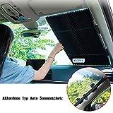 YOUXIU Versenkbare Sonnenschutz für Auto Windschutzscheibe, Automatische Einziehbare Sonnenblende Auto Frontscheibe und Heckscheibe - UV Schutz, Akkordeon Typ Auto Sonnenschutz für SUV/MVP/LKW