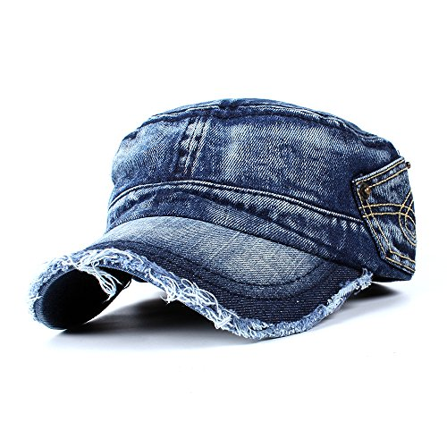 Vintage Washed Denim Cotton Peaked Baseball Cap Distressed Cadet Army Cap Military Style Corps Hat Cap Visor Flat Top Adjustable Baseball Hat for Men and Women Dark Blue
