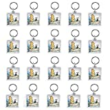 Clear Photo Frame Keychain Set - 20 PCs Square Shape Transparent Blank Acrylic Snap-in Personalized Picture Frame Key Holder