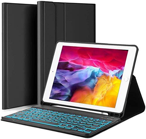 YOMYM Funda con teclado para iPad 10.2 (7ª generación)- iPad Pro 10.5 (Air 3) - Retroiluminación de 7 colores, teclado inalámbrico...