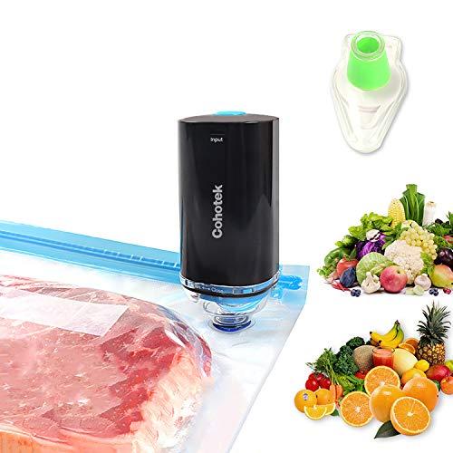 Cohotek Handheld Vacuum Sealer with 10pcs Vacuum Zipper Bags & 1 Wine Saver...