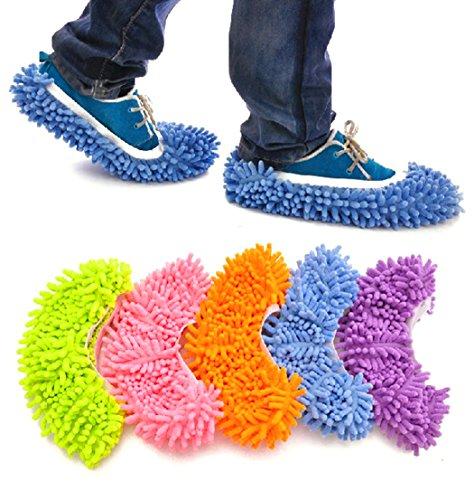 Xiaoyu 10PCS (5 pares) unisex cubrezapatas multifuncional para trapeador de polvo, perfecto para baño, oficina, limpieza de cocina, 5 colores