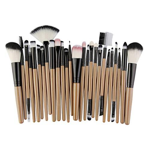T TOOYFUL 25pcs Maquillage Pinceau Professionnel Base Synthétique Mélange Concealer Poudre Crème Cosmétique Maquillage Brosse - Noir doré