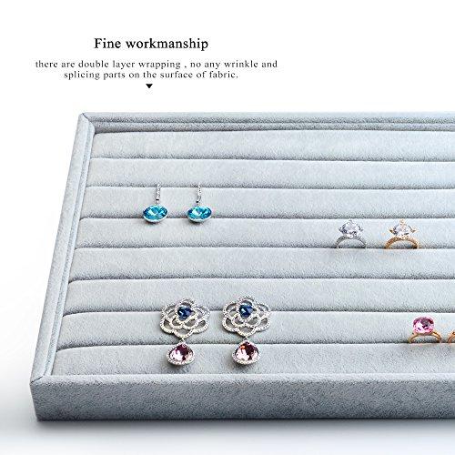 Oirlv Velvet 7 Slots Ring Earrings Studs Tray Showcase Display Jewelry Organizer