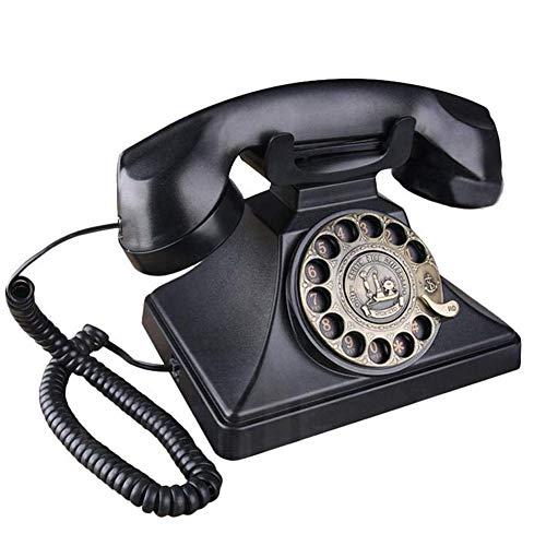 FENGD Dial Rotary Telefon Retro, Vintage-Telefone Classic Black Retro Altertümlich Festnetztelefonie mit Metallglocke Freisprecheinrichtung und Wahlwiederholungsfunktion für Hauptdekor