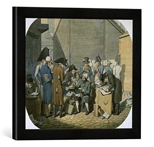 Gerahmtes Bild von Georg Emanuel Opiz Der Antiquar auf der Leipziger Messe, Kunstdruck im hochwertigen handgefertigten Bilder-Rahmen, 40x30 cm, Schwarz matt