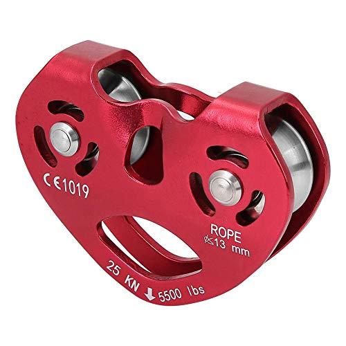 Keenso Carrucola per Arrampicata, Lega di Alluminio 25KN per carichi Pesanti Attrezzatura Singola per Arrampicata su puleggia a Fune Girevole(Rosso)