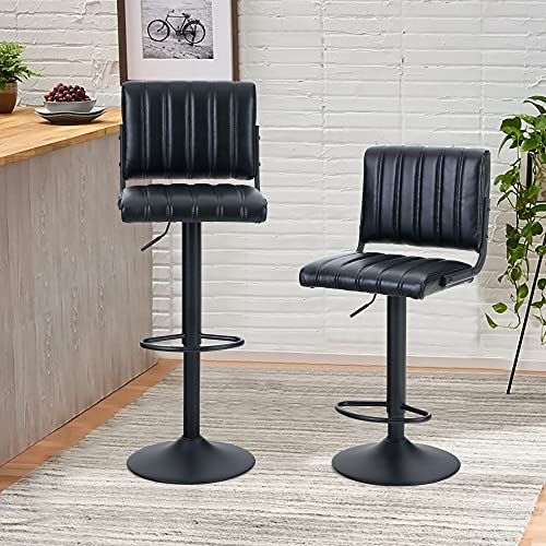 PHI VILLA Bar Stools Set of 2,Adjustable Bar Stools Counter Height with Square Back for Kitchen Island,Dining Room and Living Room,Modern Designed Bar Stools Furniture,Max Load Bearing 250 lbs,Black