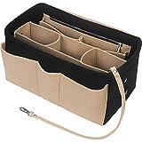Betoores Taschenorganizer für Handtaschen, Filz Handtasche Organizer Taschen Organisator Kosmetikorganizer mit Reißverschluss-Tasche für Frauen,Schwarz und Beige - L