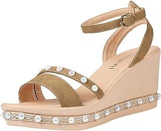 5856a1e21f8 JJLIKER Women Pearl Chunky Platform Wedges Sandals Ankle Buckle Adjustable  Strap Shoes Summer Peep Toe Pumps