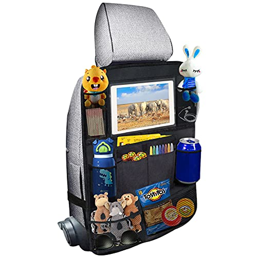 Car Backseat Organizer, Back Seat Protector Kick Mats with 10' Touch Screen Tablet Holder for Kids...