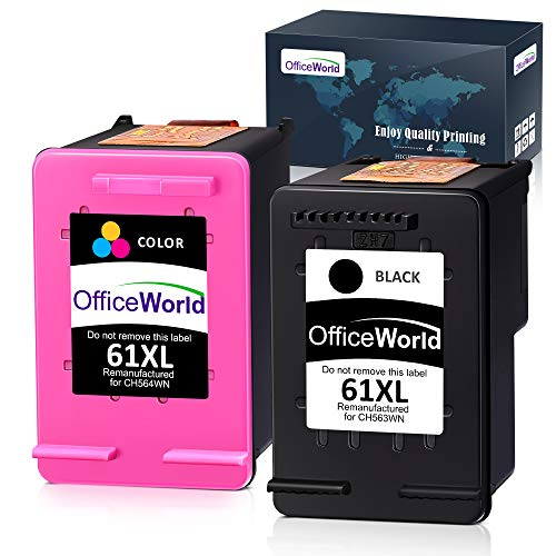 OfficeWorld Remanufactured Ink Cartridge Replacement for HP 61 61XL for HP Envy 4500 5530 5534 4502 Deskjet 2540 1010 1000 2541 2542 3050A OfficeJet 4630 4635, High Yield (1 Black + 1 Tri-Color)