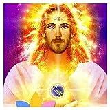 5D Diy Pintura Diamante Taladro Completo Kit Jesús dorado Diamond Painting Crystal Rhinestone Bordado de Punto de Cruz Para de la Pared Oficina Del Hogar Decoración Manualidades D940 50x50cm