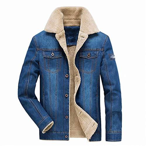 MILASIA Giacca da Uomo Classica Denim Giacca da Jeans Invernale Giacca da Jeans Giacca Invernale Imbottita (M, Azzurro)