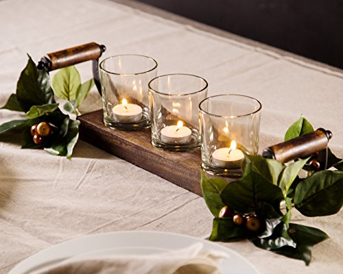 Le 'raze Kerzenhalter Mittelpunkt, 3Glas Votiv Tassen Auf Holz Base/Tablett für Hochzeit Dekoration Esstisch, mit Griff
