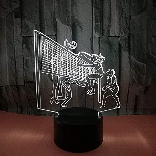 CMMT Lámpara de escritorio Jugando Voleibol LED Colorido Degradado 3D Estéreo Lámpara de Mesa Táctil Control Remoto USB Luz de Noche Escritorio Decoración Creativa Regalo Adornos