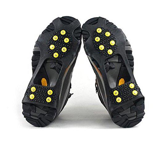 logei® Crampons pour Chaussure avec 10 Clous antidérapants pour Outdoor Neige Glace Montagne Taille 36-41Couleur Noir (Une Paire)