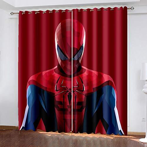 Spider Man Occultant Rideaux avec œIllets - Lot de 2 Rideaux Occultants Isolants Thermique Antibruit Rideaux de la Chambre Enfants Moderne 2 x 75 x 166cm