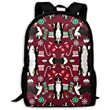 Mochila para computadora portátil liviana,mochilas al aire libre,mochila de viaje para adultos/niños,bolso de hombro escolar estampado,mochila informal Pastor Australiano Perro de Navidad tricolor par