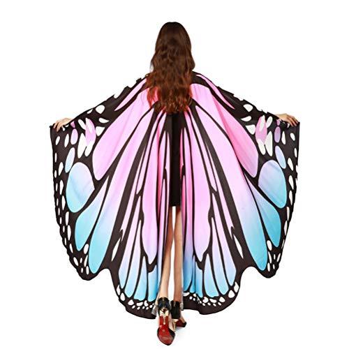EDOTON Schmetterlingsflügel für Frauen, Nymphe Pixie Kostüm Zubehör Schals Party Cosplay Tanzkostüm (Blau Rosa)