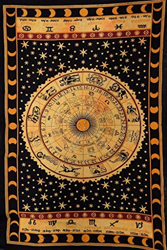 Large Twin Size Celtic Zodiac Horoscope Tapestry - Indian Planet Star Astrology Hippie Wall Hanging Ethnic Decorative Sun Moon Tapestries - Black and Gold - 84 X 54 Inches