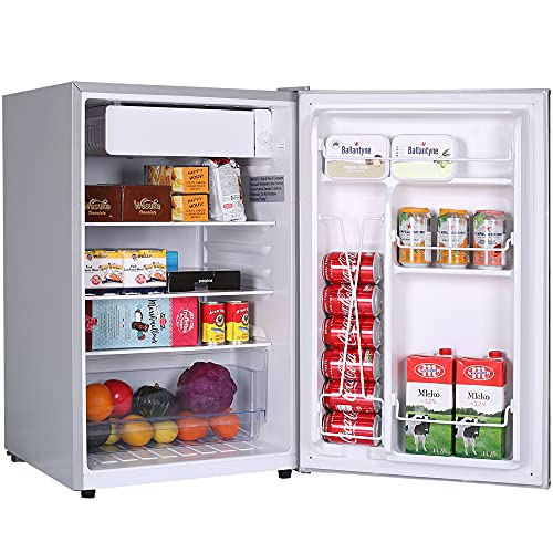 Small Refrigerator,Mini Fridge with Freezer,4.5 Cu.Ft Mini Dorm Refrigerator,Energy Star,Super Quiet,Auto Defrost,Reversible door, Small Fridge for Dorm,Apartment,Bedroom,Office,RV (Sliver)