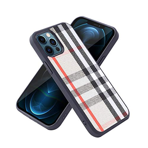 Compatible for iPhone 12 and iPhone 12 pro (6.1'') PU Luxury Designer Leather case,high-end Leather Fashion Checkered Protective Cover, Anti-Drop, Anti-Scratch, Support Wireless Charging.