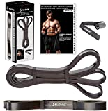 SLOVIC Resistance Band/Pull Up Band/Resistance Bands for Exercise & Stretching /Heavy Exercise Band for Workout 42 Inch with Door Anchor for Calisthenics with Physical Booklet with 30 Exercises.(Black(30-75 LBS)).