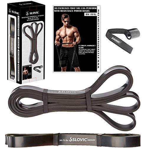 SLOVIC Resistance Band/Pull Up Band/Resistance Bands for Exercise & Stretching /Heavy Exercise Band for Workout 42 Inch with Door Anchor for Calisthenics with Physical Booklet with 30 Exercises.(Black(30-75 LBS)),Latex