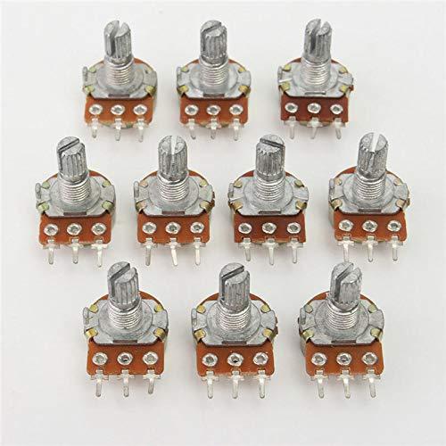 Capacitors WH148 B100K - Potenciómetro lineal (eje de 15 mm, con tuercas y arandelas, 100 unidades)
