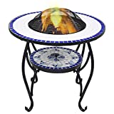 Mosaic Fire Pit Table with <span class='highlight'>BBQ</span> Grill Shelf, 4 in 1 Round Firepit for Barbecue, Heater, Ice Pit, Metal Brazier Coffee Table for Garden Patio Outdoor,68 cm <span class='highlight'>Ceramic</span>【<span class='highlight'>UK</span> STOCK】