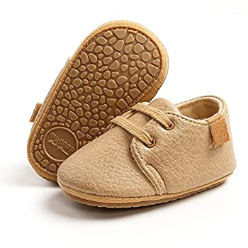 TIMATEGO Baby Boys Girls Oxford Shoes Hard Bottom Lace Up Sneaker PU Leather Moccasin Infant Toddler First Walker Uniform Dress Loafer Shoes 03 Khaki Baby Shoes 6-12 Months Infant