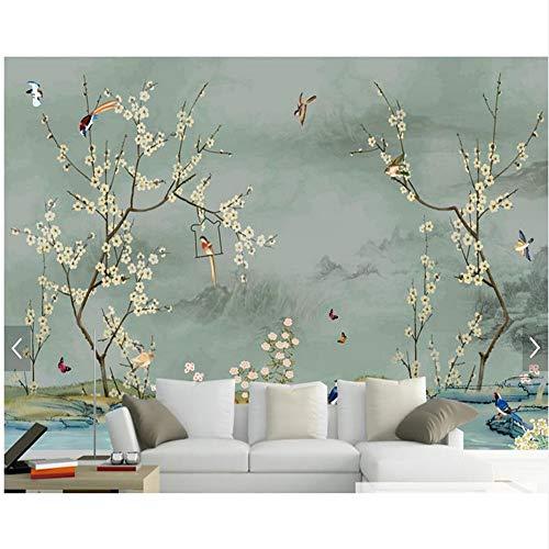 Weaeo Kundenspezifische Vogeltapete, Hand Gezeichnete Skizze Vogel- Und Blumenwandgemälde Für Wohnzimmerschlafzimmersofakondwanddekor-Tapete-120X100Cm