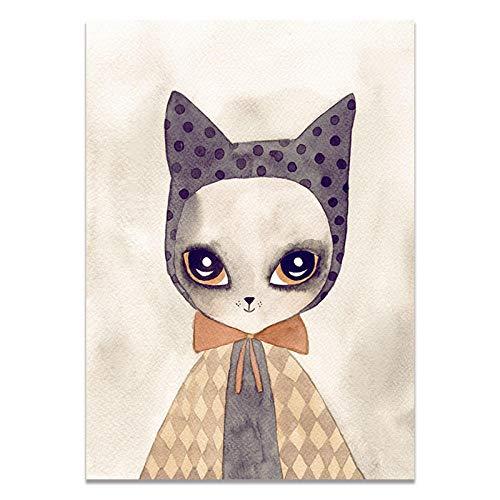 U/N Lindo Animal Pared Arte Cartel Impreso Kawaii Gato Zorro niños habitación decoración de Pared imágenes para Sala de Estar Lienzo Impreso Pinturas-1
