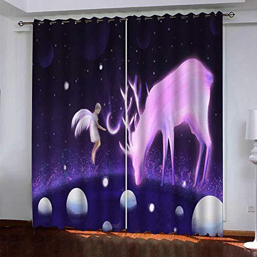 DRFQSK Cortinas Infantiles Impresión Digital Alce Morado Angelito 3D Cortinas Opacas Termicas Aislantes Cortinas Dormitorio Moderno con Ollaos, 2 Paneles 234 X 230 Cm(An X Al)