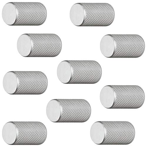 Gedotec Aluminium Möbelknöpfe Edelstahl Schrank-Knöpfe Vintage für Schublade - H10049 | Möbelgriff Edelstahl-Optik | Design-Knopf zylindrisch Ø 17 mm | 10 Stück - Möbel-Knäufe rund mit Möbelschrauben