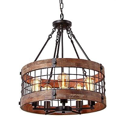 Anmytek C0019 Round Wooden Chandelier Ceiling Lights, Brown
