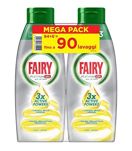 Fairy Platinum Gel Detersivo Per Lavastoviglie, Limone, 90 Lavaggi, 100% Dissoluzione e Una Pulizia Ottimale