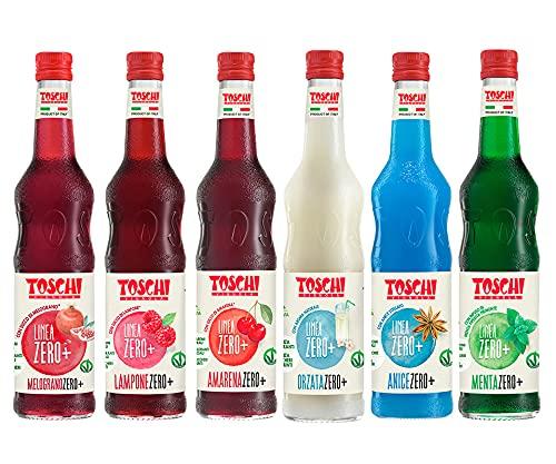 Drink Zero + Toschi 560 ml NUOVI GUSTI, Sciroppo Senza Zucchero nei gusti: Amarena, Menta, Orzata, Lampone, Melograno ed Anice.