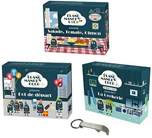 La Geekerie Set mit 3 Erweiterungen, Weiß, Essenszubehör, mit Topf und Salat Tomate Zwiebel + 1 Flaschenöffner Blumie