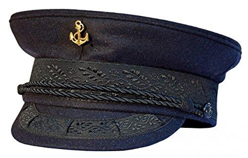 AS Bekleidungswerk modAS Original Prinz-Heinrich Mütze mit vergoldeter Anstecknadel - Marineblau, Ausführung:Anker, Größe:62