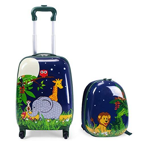 GOPLUS 2 in 1 Valigetta bimbo Trolley bambino Piccolo Bagaglio di Viaggio Carino Valigetta+Zaino Verde