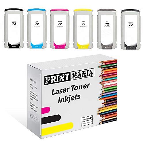 Printmania - 6 Cartuchos de Tinta compatibles con HP 72 (MBK/PBk/C/M/Y/G)